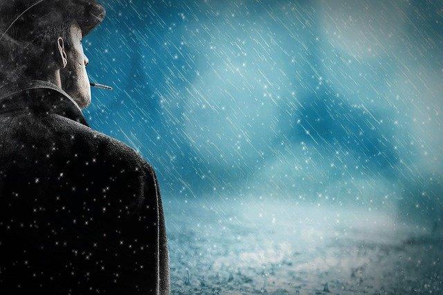 Muž, kovboj, zlé počasie